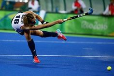 Giselle Ansley in action during Great Britain's victory.