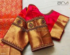 blouse designs Stunning pink color designer blouse with gold jari sleeves. Blouse with hand embroidery kundan work. Blouse Back Neck Designs, Simple Blouse Designs, Stylish Blouse Design, Wedding Saree Blouse Designs, Pattu Saree Blouse Designs, Blouse Designs Silk, Blouse Patterns, Churidar Designs, Wedding Sarees