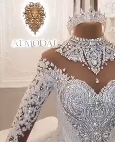 Haute Couture Wedding Dress🔥 - Luxury High Neck Long Sleeves Crystal Ball Gown Wedding Dress, Haute Couture Bridal Gowns, Source by - Couture Wedding Gowns, Luxury Wedding Dress, Wedding Dress Trends, Dream Wedding Dresses, Bridal Dresses, Bridesmaid Dresses, Couture Bridal, Gowns Couture, Lace Wedding