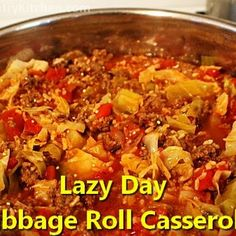 Crazy easy cabbage and beef casserole with onions, tomatoes and rice.
