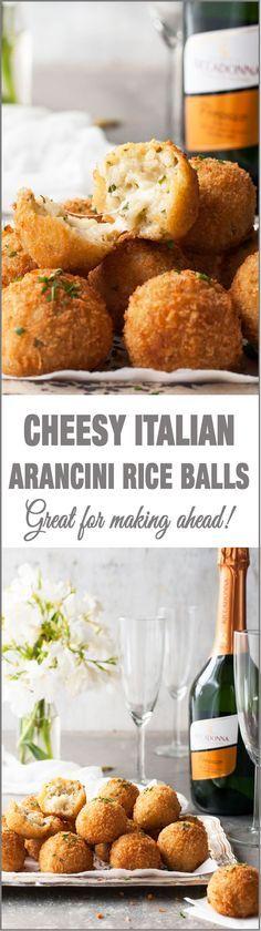 Cheesy Italian Arancini Rice Balls - Sensational for making ahead!                                                                                                                                                      More