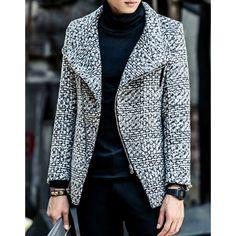 Turn-Down Collar Slimming Long Sleeve Zipper Design Men's Woolen Coat