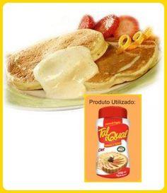 Receita Tal e Qual – Panquecas - Ingredientes Creme: •    1 xícara (chá) de leite desnatado •    2 ovos •    4 colheres (sopa) de adoçante para forno e fogão TAL •    E QUAL •    1 xícara (chá) mais 5 colheres (sopa) de farinha de trigo •    1 colher (chá) de essência de baunilha •    1 e ½ xícara (sopa) de fermento em pó •    4 colheres (sopa) de uva passa escura •    margarina light para untar