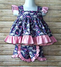 Girls Top-Pink-Ruffle-Dinosaur-Top and shorts Bow Girls