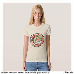 Father Christmas Santa Claus T-shirts. Women's Christmas t-shirt showing a cartoon style illustration of Santa Claus standing front with candy cane scroll on isolated white background. Christmas Writing, Retro Christmas Tree, Father Christmas, Christmas Shirts, Merry Christmas, Time T, American Apparel, Retro Fashion, Shirt Style
