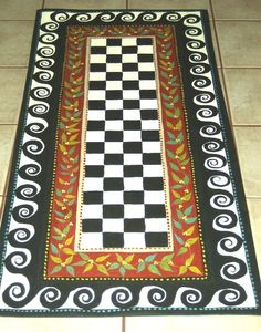 Your place to buy and sell all things handmade FLOORCLOTH FRENCH COUNTRY hand painted rug Primitive Decking of a house just about the most remarkable interior ar. Flooring, Porch Rug, Floor Rugs, Painted Floor, Floor Cloth, Hand Painted, Painted Rug, Painted Furniture, Diy Flooring
