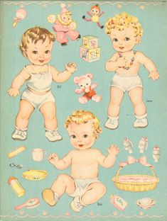 Baby Dolls w Cloth Like Fuzzy Clothes Uncut Paper Doll Book Whitman 1944 Paper Dolls Clothing, Paper Dolls Book, Vintage Paper Dolls, Paper Toys, Paper Crafts, Vintage Baby Toys, Vintage Cards, Vintage Postcards, Paper Doll House