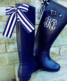 Mother's Day Gift for Her:  Monogrammed Navy Rain Boot with Bows by Puddles N Rain Bows at Etsy