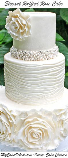 A cake decorating video tutorial from Online Cake Decorating Classes & Recipes! White Wedding Cakes, Elegant Wedding Cakes, Elegant Cakes, Beautiful Wedding Cakes, Gorgeous Cakes, Wedding Cake Designs, Pretty Cakes, Amazing Cakes, Cake Decorating Classes