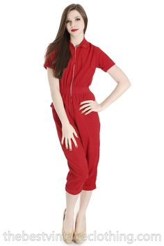 Waiting Vintage 1950s Red Corduroy Jumpsuit Romper Womens Rhinestone Accents Small S