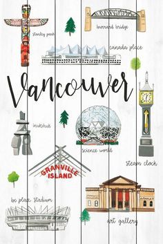 Vancouver Life Description: - Fine art UV ink print on white wood from the Marmont Hill Art Collective - Artwork by Molly Rosner for American Dream House - Wood pieces are hand-selected by fine craftsmen for printin Vancouver Seattle, Vancouver Travel, Vancouver Island, Vancouver Vacation, Seattle Vacation, Alaska Travel, Canada Travel, Canada Trip, Vintage Travel Posters