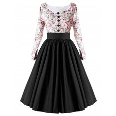 ZAFUL Autumn Winter Women Vintage Dress 50s 60s Retro Rockabilly Swing Feminino Vestidos Long Sleeve Print Party A Line Dresses