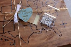 United States Map on Wood with Wood Pins