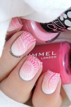 Ombre stamped nails