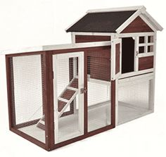 Wooden Rabbit Hutch Pet Cage Wood House Small Animal Bunny Chicken Coop w Ladder Rabbit Cages, Bunny Cages, Rabbit Playpen, Hamster Cages, Portable Chicken Coop, Best Chicken Coop, Building A Chicken Coop, Cage Petit Animal, Small Animal Cage
