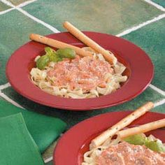 "Creamy Tomato Fettuccine Recipe -""I love to serve fresh garlic toast and a tossed salad with this saucy pasta,"" writes Katie Sloan from Charlotte, North Carolina. ""For a heartier dish, just add some chicken,"" she suggests."