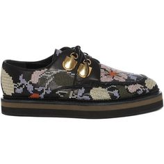 Alexander McQueen Nappa Embroidered Double Layer Sole (€900) ❤ liked on Polyvore featuring shoes, alexander mcqueen, khaki shoes, colorful shoes, black shoes and print shoes