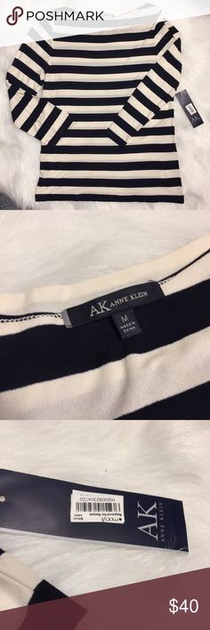 Anne Klein AK top Medium stripe New with tags Anne Klein AK top size medium  Top is semi sheer.  Sleeves are 3/4 length. Top has white and dark navy stripes.  Smoke free home.  Pet friendly home.  I always consider offers via the offer button.  Save more with a bundle! Anne Klein Tops Blouses
