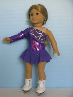 Purple Ice Skating Dress for an American Girl by DesignsforIce, $30.00