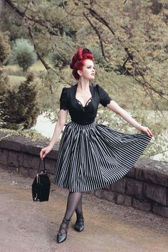 Jenny Skirt Victorian Stripes Lilith Blouse Black Pinup Couture Laury Byrnes Pinupgirlclothing