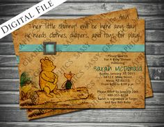 Vintage Winnie the Pooh Baby Shower Invitation by Sassygfx on Etsy, $16.00