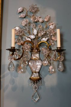 Spectacular Pair of Maison Bagues Rock Crystal Sconces | From a unique collection of antique and modern wall lights and sconces at https://www.1stdibs.com/furniture/lighting/sconces-wall-lights/