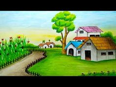 How to draw a scenery step by step / Landscape drawing Scenery Drawing Pencil, Scenery Drawing For Kids, Art Drawings For Kids, Easy Drawings, Oil Pastel Paintings, Oil Pastel Art, Oil Pastel Drawings, Colorful Drawings, Landscape Drawing Easy