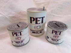 Vintage Pet Evaporated Milk Radio and Banks by SusansVintageHome