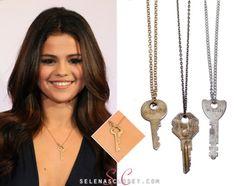 Selena Gomez was spotted wearing the key to our hearts around her neck at the Dallas Jingle Ball. (JUST KIDDING) She wore a The Giving Keys Dainty Chain Serenity Necklace. Please note: Each necklace is unique and does not look like what is pictured.  The deal with these necklaces is that you Wear this key and embrace its message until you meet someone who needs the message on the key more than you.  That being said, Get yours HERE Check out some other Key necklaces here:
