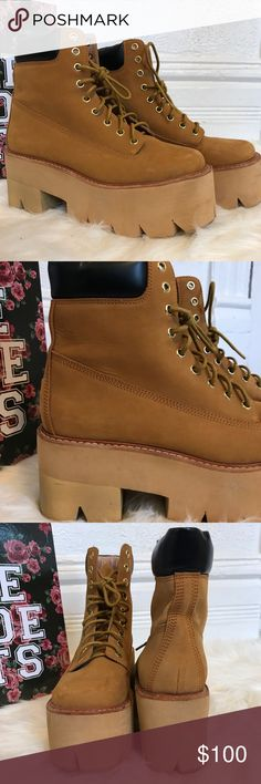 """Jeffrey Campbell Nirvana Boot, Wheat Color: Wheat Size: 8 Condition: Worn once 3"""" heel; 2"""" platform. 8"""" boot shaft. Leather upper and lining/synthetic sole. Jeffrey Campbell Shoes Platforms"""
