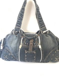 Jeans Denim Bag Studied Multi Pockets Designer Fashion Hip Boho Trendy Biker  #Unbranded #ShoulderBag