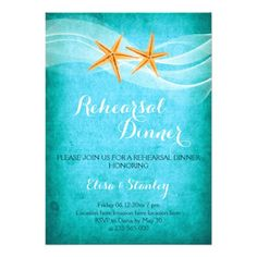 Starfish pair and veil turquoise tropical destination beach wedding rehearsal dinner invitation.
