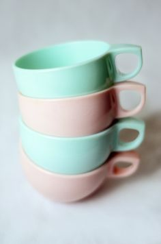 Watertown Lifetime Melmac Cups in Mint Green and Light Pink. Love the colors
