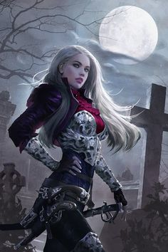 female vampire hunter (great for Curse of Strahd) fighter, paladin, cleric of Pharisma in graveyard moonlight DnD / Pathfinder character concept / portrait or interesting NPC Dark Fantasy Art, Fantasy Girl, Fantasy Artwork, Fantasy Kunst, Fantasy Women, Fantasy Rpg, Fantasy Warrior, Warrior Angel, Female Vampire