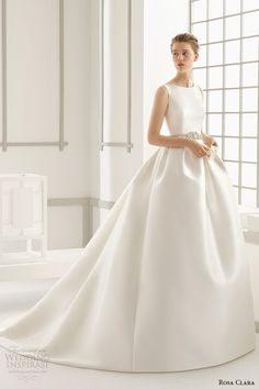 rosa clara 2016 bridal collection bateau neckline sleeveless clean wedding ball gown dress lace back delfos