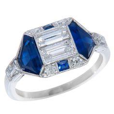 Fabulous Art Deco Diamond & Sapphire Ring, ca. 1930s