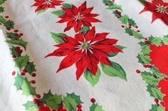Vintage Pillowcase Fabric Poinsettia and by Boutiqueatthebusybee