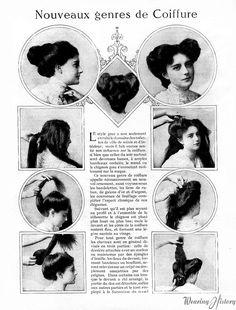 i love historical clothing: Edwardian hairstyles Historical Hairstyles, Edwardian Hairstyles, Retro Hairstyles, Hat Hairstyles, Hairdos, French Hairstyles, Hairstyle Ideas, Belle Epoque, Gibson Girl Hair
