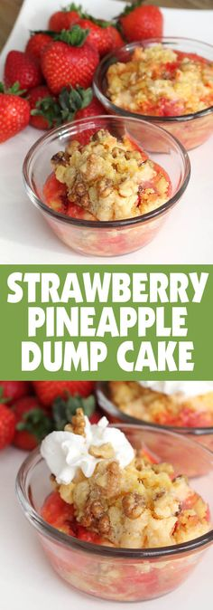 I love dump cakes because they're so easy to make, and this STRAWBERRY PINEAPPLE one is my favorite!! #recipe #dessert #foodiefriday