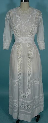 Antique Dress - Item for Sale1910-1912 White Embroidered, Lace and Cutwork Lawn Dress