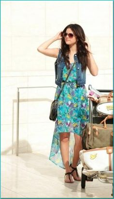 High-Low Floral Dress and Jean Vest. I don't generally go for high-low dresses, but I like the overall look :)