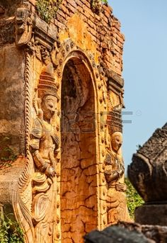 INDEIN MYANMAR FEBRUARY 28 Entrance detail of ancient stupa with beautiful sculptures at Inle Lake a Stock Photo