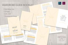 Wardrobe Guide Booklet Dressing for Your Body Shape The wardrobe guide gives tips for dressing your body shape from dress styles to skirt, pant and blouse combinations, with illustrated diagrams to help your client identify their body shape. Download the template version for