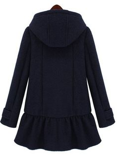 Cute Side Pocket Buttons Lotus Hem Hooded Woolen Coat