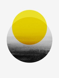 Available for purchase  Sunrise Art Yellow Black and White Grey Scale Minimal…