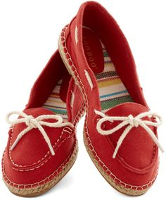 The perfect 1940s shoe to wear with pants- All About Annapolis Shoe in Red from Modcloth