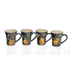 Certified International 'Damask Fruit' Assorted Mugs (Set of 4) | Overstock.com Shopping - The Best Deals on Mugs