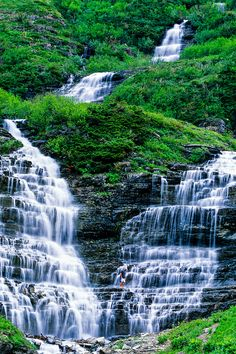 Waterfall, Logan Pass, Glacier National Park, Montana USA