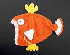 Magikarp Pokemon Beanie Handmade Crochet Slouch Hat Fish Head Women's Geek Accessories Comic Con Anime Costume Gift for Her