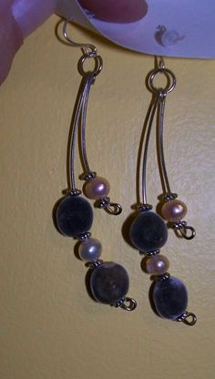 Mgambo seed and fresh water pearl earrings | MarquisCreations - Jewelry on ArtFire